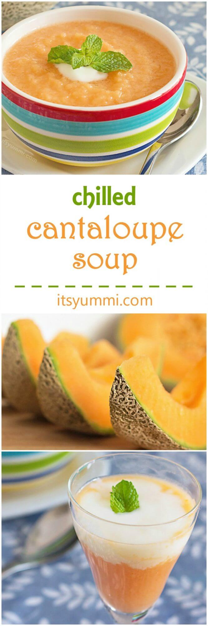 chilled cantaloupe soup photo collage
