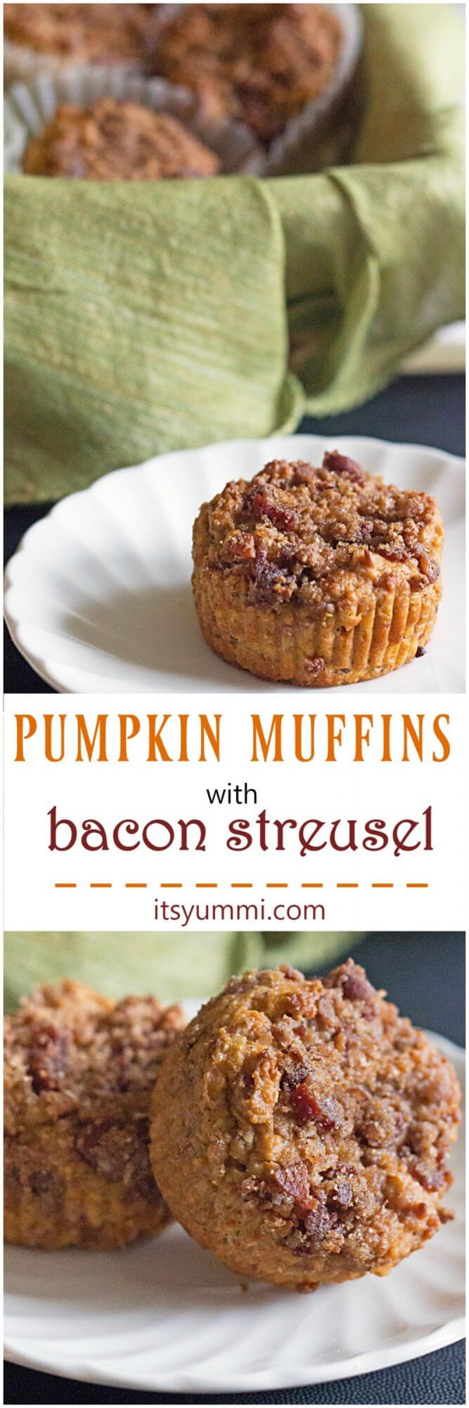 titled photo collage (and shown) Pumpkin Muffins with Bacon Streusel