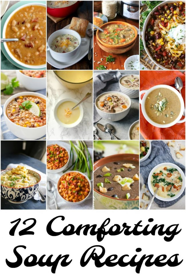 titled photo collage of 12 comforting, easy soup recipes