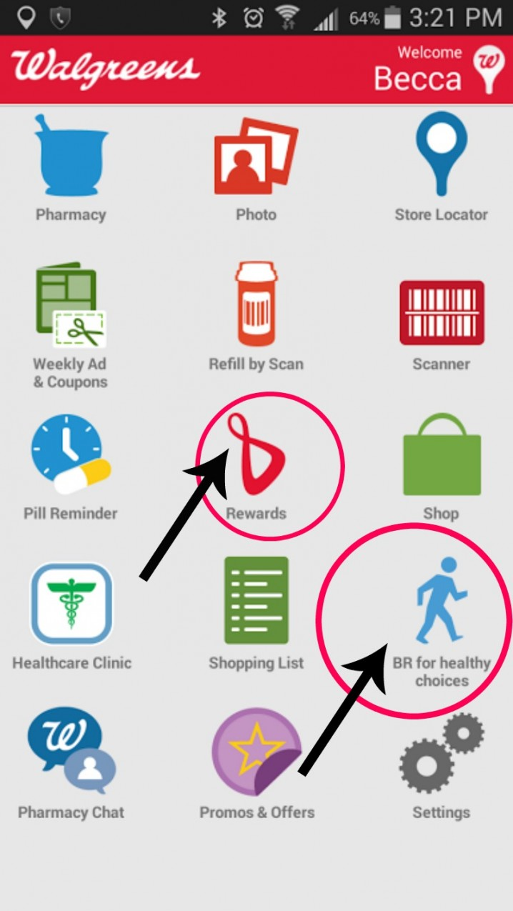 Earn rewards for making healthy choices and logging them with the Walgreens app!
