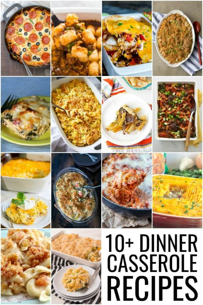 photo collage of dinner casseroles
