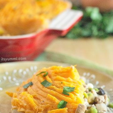 Easy Sweet Potato Shepherds Pie - #recipe from ItsYummi.com