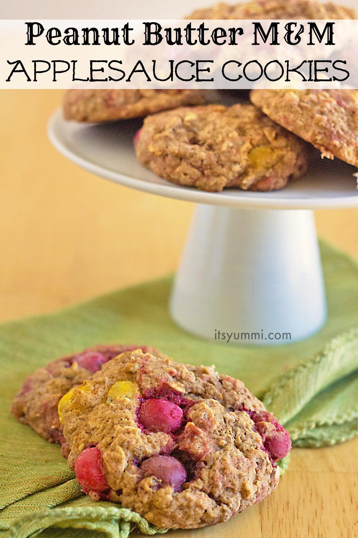 Peanut Butter M&M Applesauce Cookies from ItsYummi.com