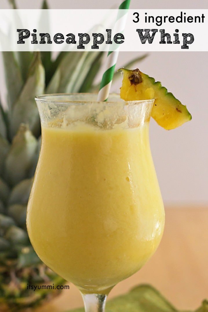 This 3 ingredient Pineapple Whip recipe is a healthier version of the one you can get at the Disney theme parks! This healthy frozen treat is on ItsYummi.com