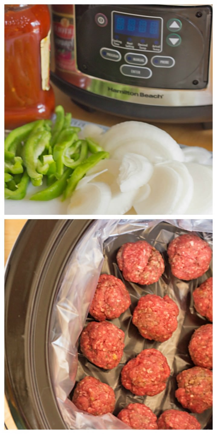 preparation of slow cooker meatball sandwiches from ItsYummi.com #shop