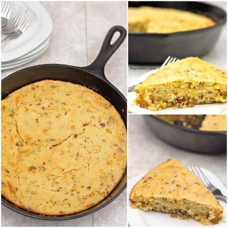 Bacon Cheddar Cornbread Recipe - This moist cornbread is studded with cheddar cheese and crisp bacon. It's the perfect side dish for weeknight dinner recipes! Recipe on itsyummi.com