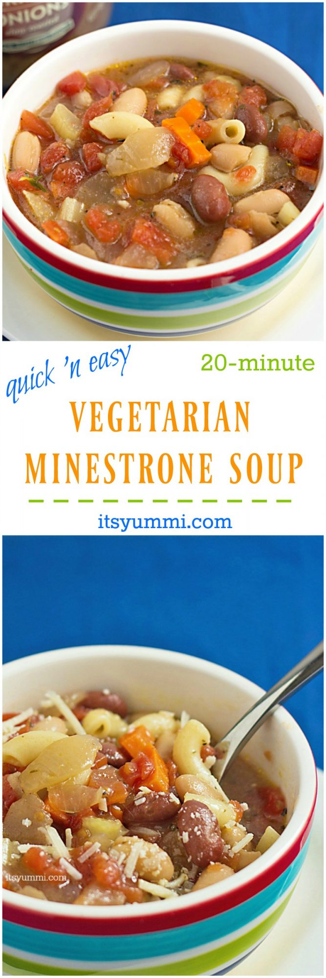 Easy Vegetarian Soup Recipe - The perfect 20-minute, healthy weeknight dinner. Gluten free, low fat, and delicious! Recipe on itsyummi.com
