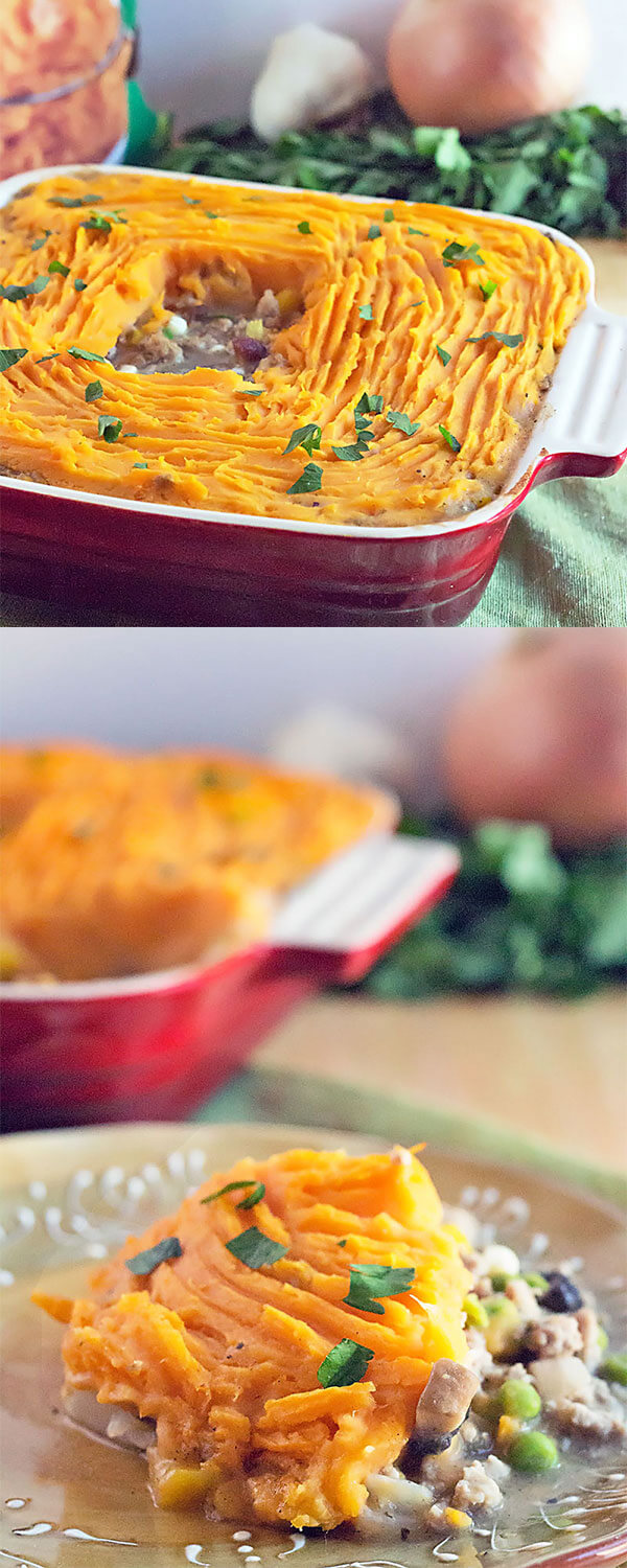 photo collage of sweet potato shepherd's pie