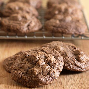 chewy chocolate peanut butter cookies on cooling rack