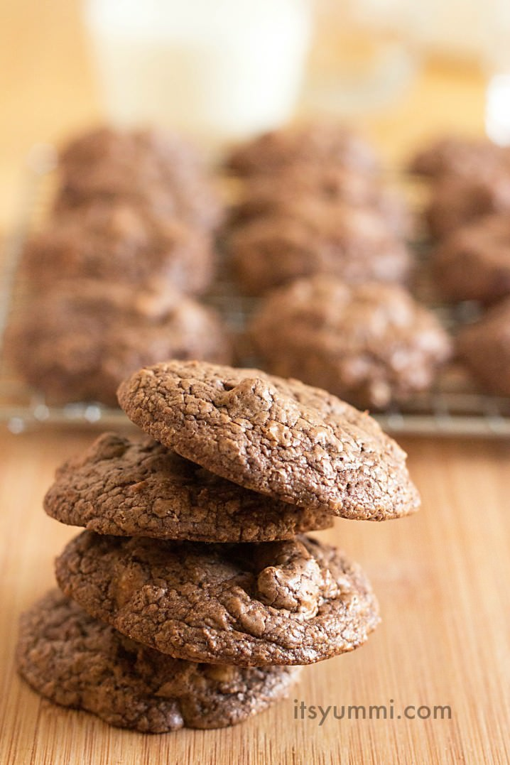 stack of 4 chewy chocolate peanut butter cookies