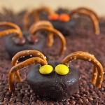 15 Fun Food Creations for Halloween, including these Mini Spider Doughnuts - find them all on ItsYummi.com