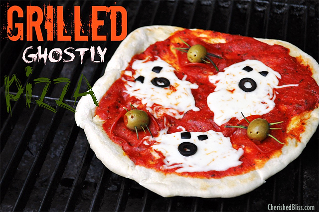 15 Fun Food Creations for Halloween, including Grilled Ghostly Pizza from Cherished Bliss - find them all on ItsYummi.com
