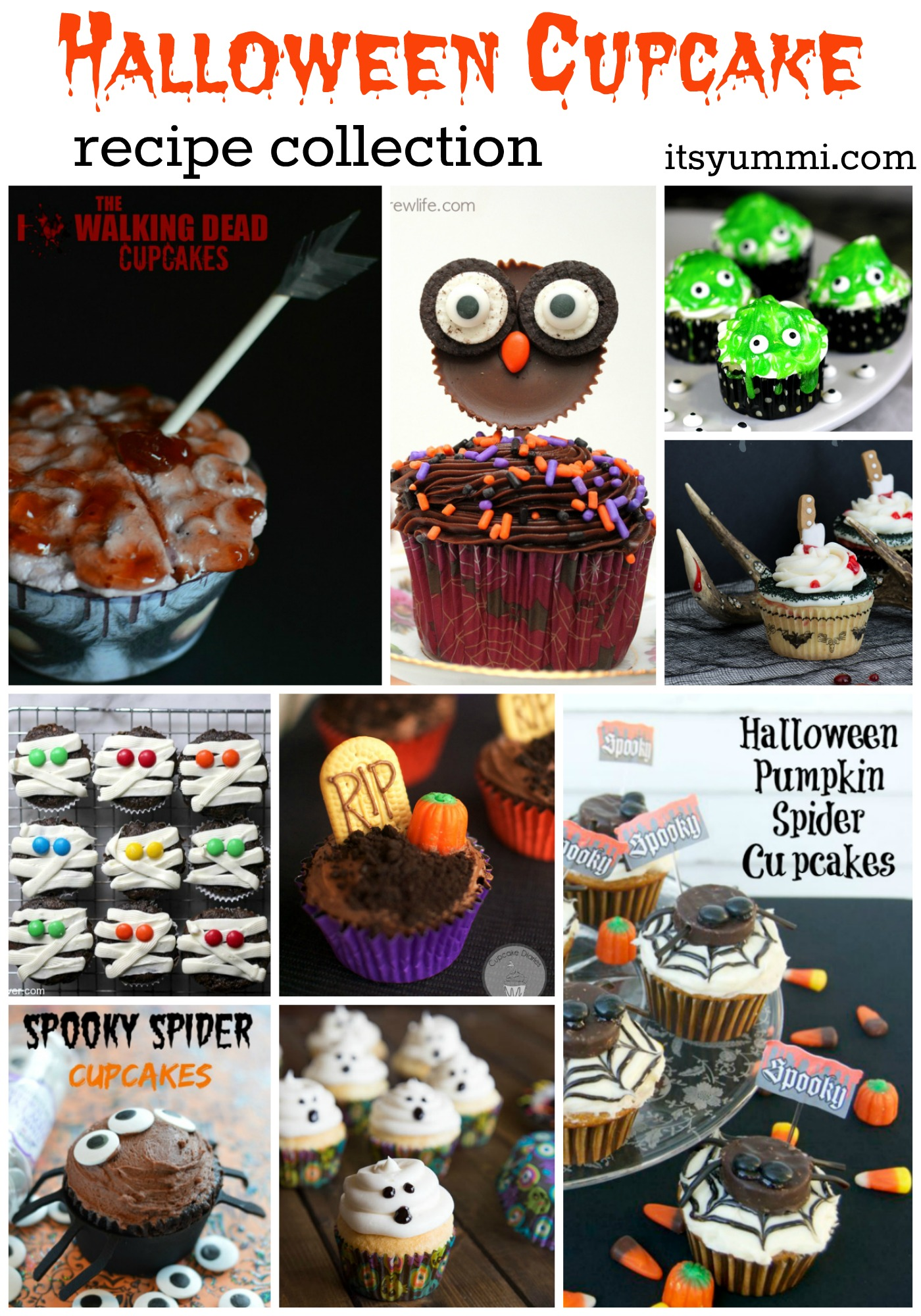 Fun Halloween Cupcake Recipe Roundup- from ItsYummi.com