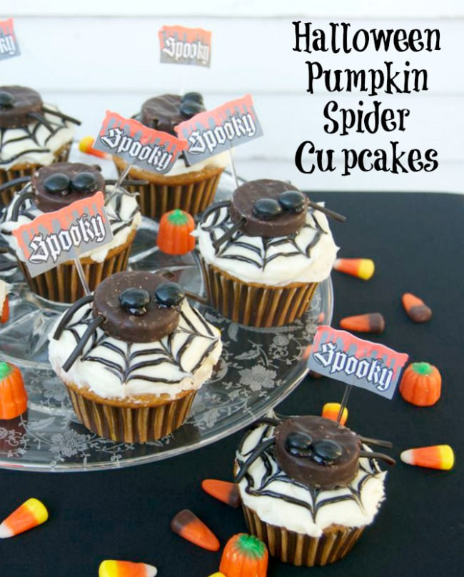 Fun Halloween Cupcake Recipe Roundup - Pumpkin Spider Cupcake from 365 Days of Baking
