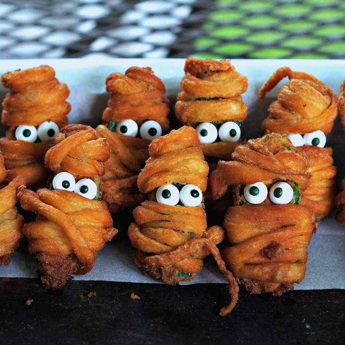 15 Fun Food Creations for Halloween, including Jalapeno Popper Mummies from Simply Sated - find them all on ItsYummi.com