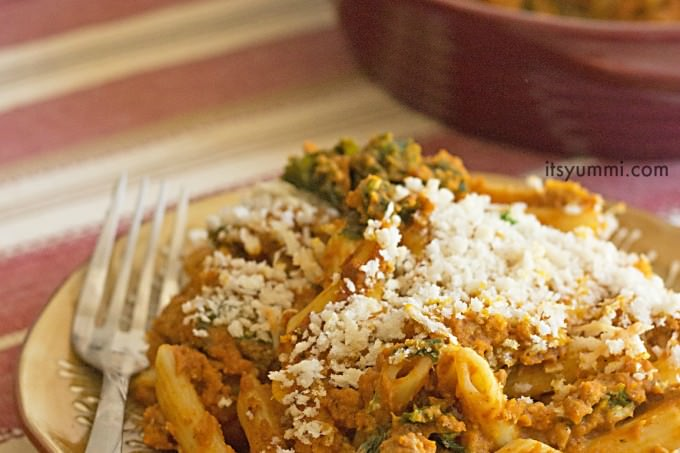 This low fat turkey pumpkin pasta is seriously delicious and super easy to make. No baking required! #IHeartDreamfields ad