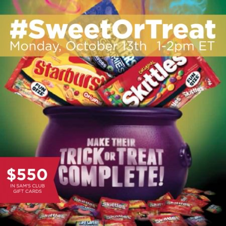 Join the #SweetOrTreat Twitter party on October 13, 2014 , from 1-2 pm EST #shop