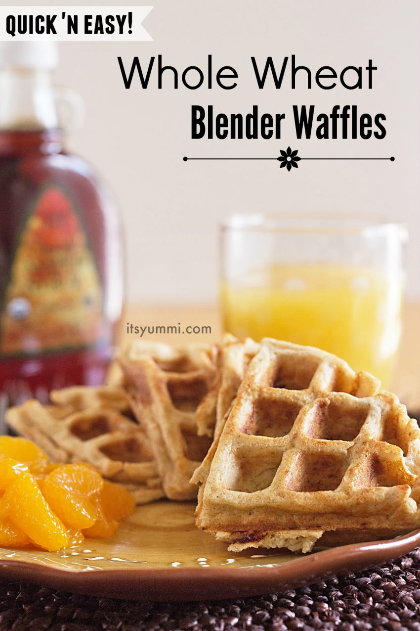 1 minute in the blender and 3 in the waffle iron = the easiest whole wheat blender waffles recipe for breakfast (or dinner!)