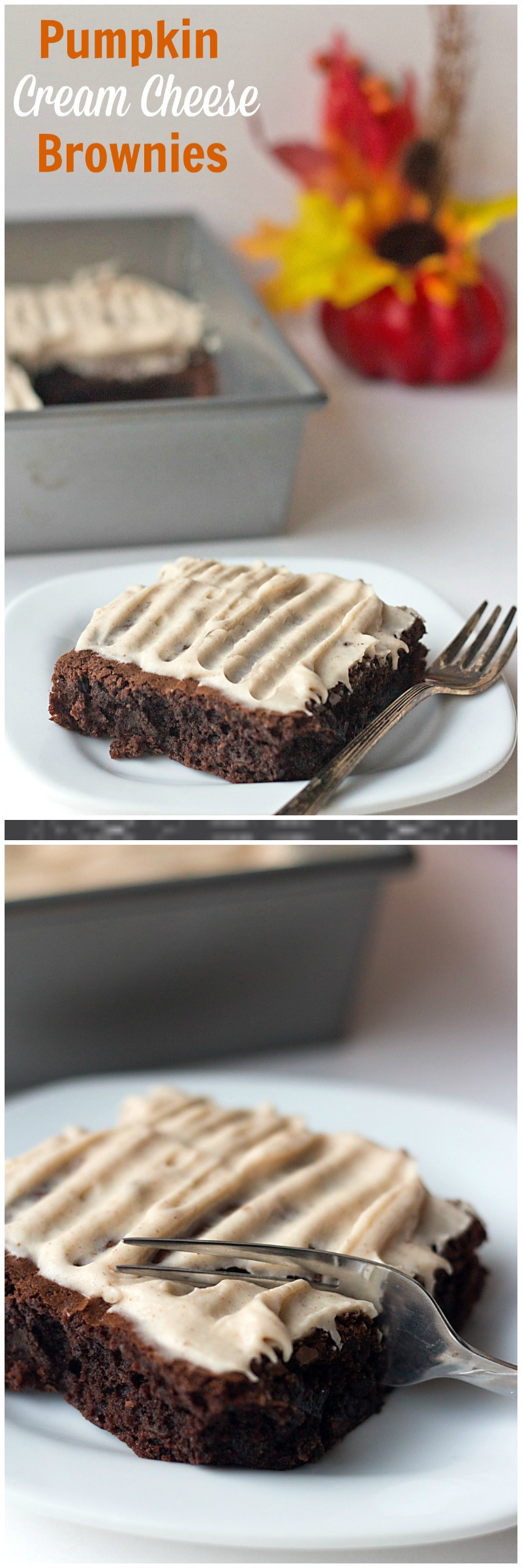 Pumpkin Cream Cheese Brownies - a semi-homemade brownie recipe, jazzed up for Halloween with a sweet pumpkin cream cheese frosting.