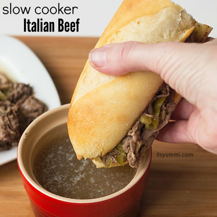 Easy slow cooker Italian beef recipe - this is the best one pot meal I've ever eaten and it's perfect game day food!