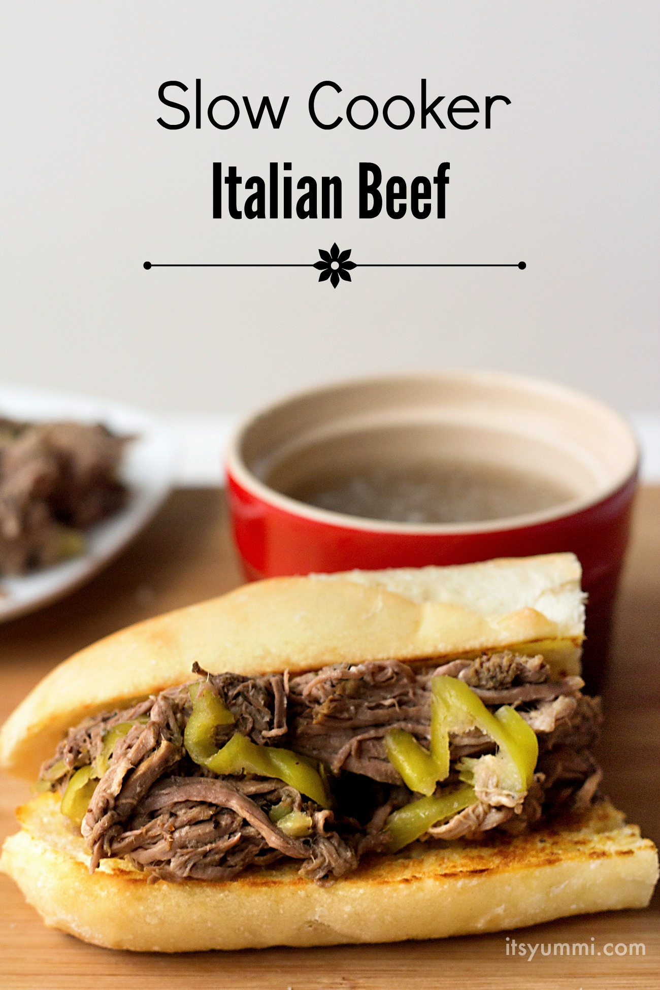 Easy Slow Cooker Italian Beef Recipe- from ItsYummi.com