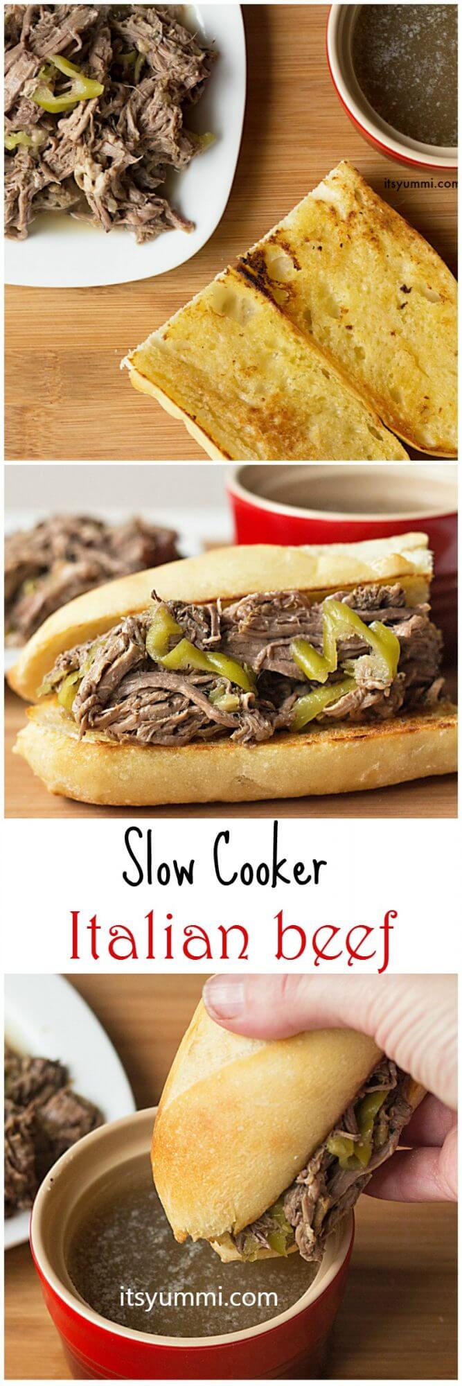Perfect for game day! Slow Cooker Italian Beef - Get the recipe from ItsYummi.com