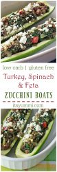 Turkey stuffed zucchini boats are zucchini halves, filled with lean turkey and healthy vegetables, topped with feta cheese for a salty bite of goodness. Even kids love this veggie filled, protein packed meal! It's low carb, gluten free, and is adaptable to a meatless, vegetarian or vegan meal.   ItsYummi.com