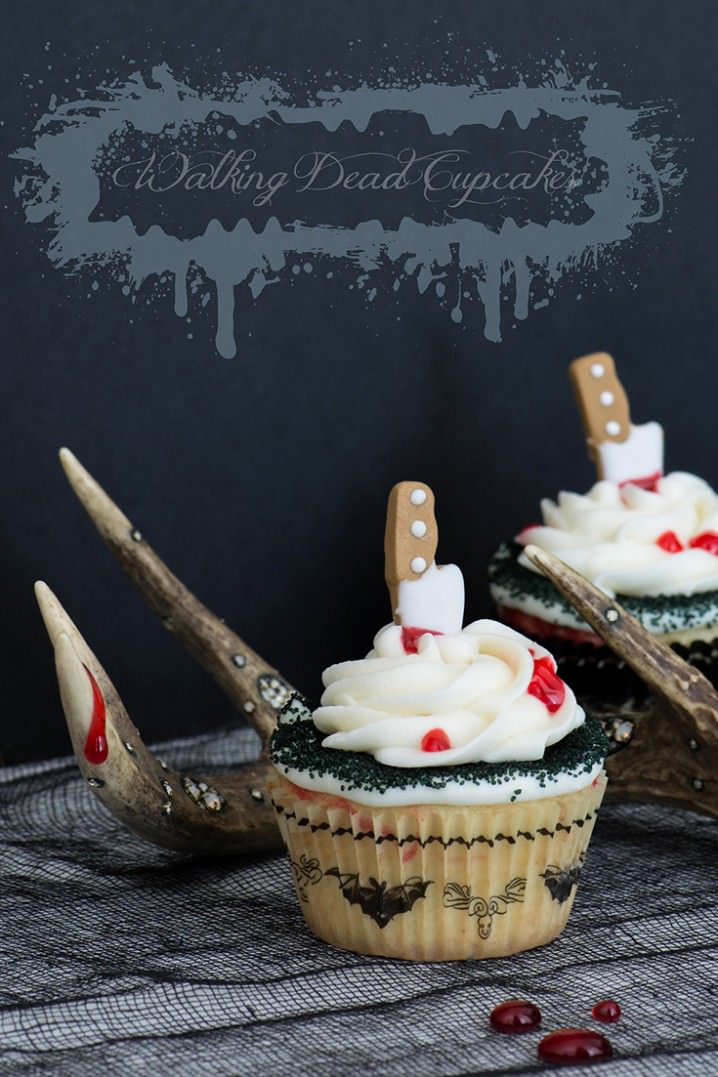 Fun Halloween Cupcake Recipe Roundup - Walking Dead Cupcakes from Kailley's Kitchen