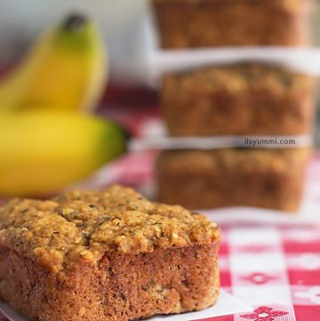 low carb banana bread bites on a picnic table