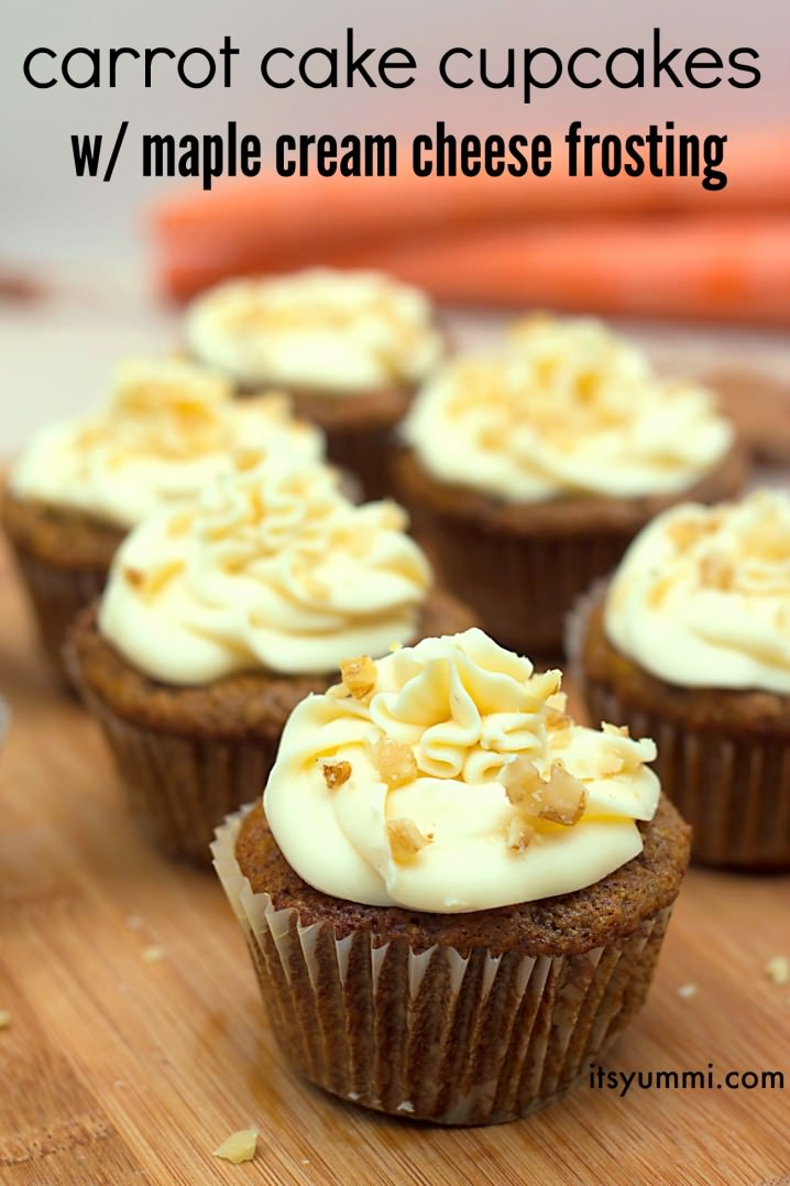 Carrot Cake Cupcake Recipe w/ Maple Cream Cheese Frosting
