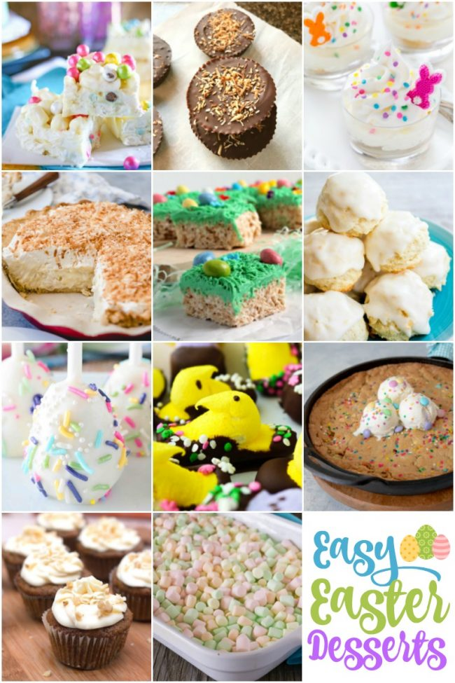 photo collage of Easter desserts