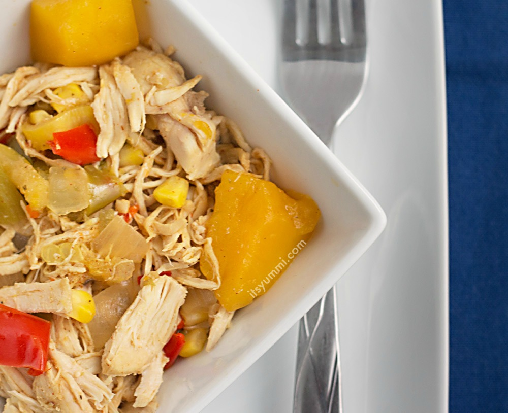 This healthy slow cooker mango chicken recipe is made in a slow cooker or Crock Pot. It uses just 5 ingredients (plus spices), is low fat, and Weight Watcher friendly!