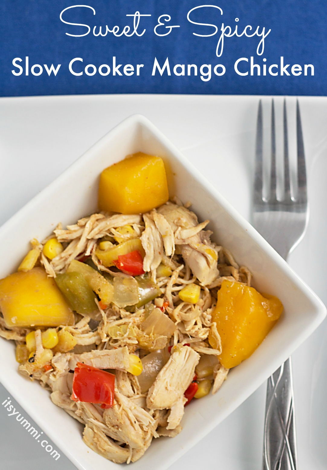 This healthy mango chicken recipe is made in a slow cooker or Crockpot. It uses just 5 ingredients (plus spices), is low fat, and Weight Watcher friendly!