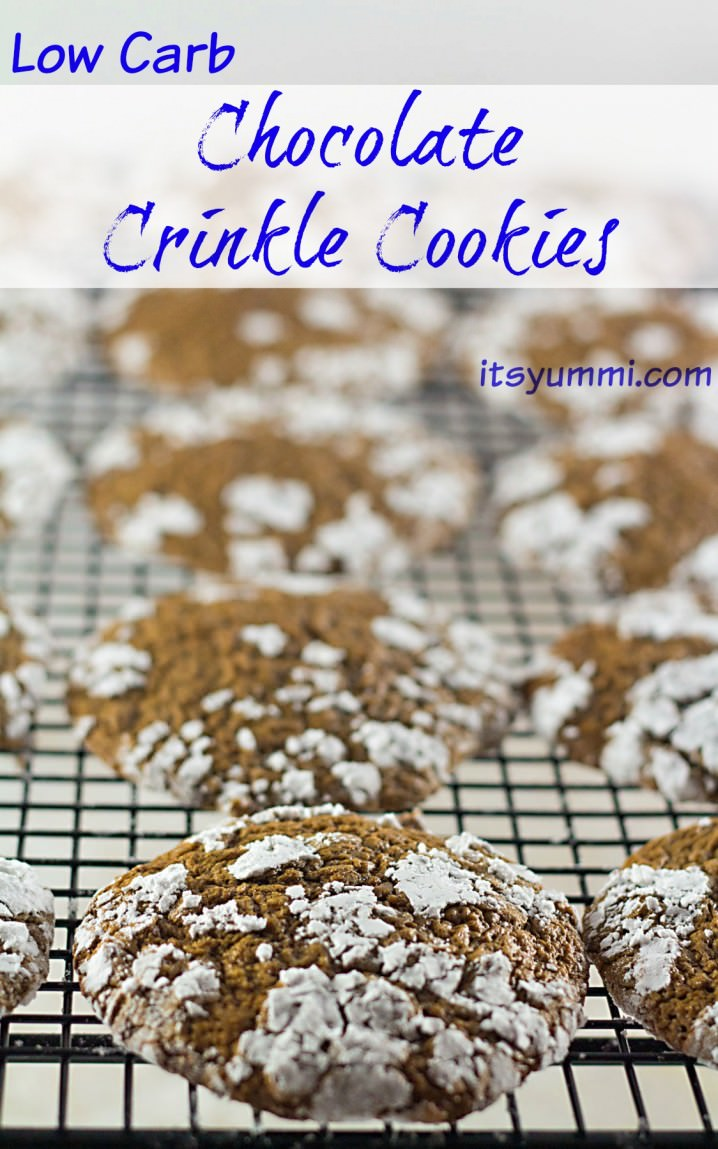 titled image (and shown): Low Carb Chocolate Crinkle Cookies