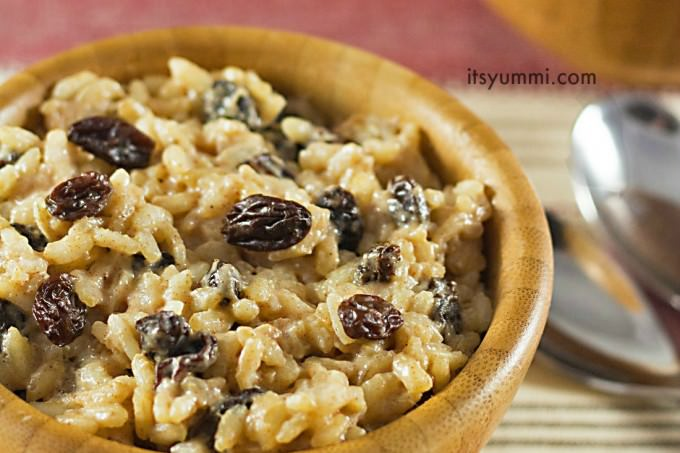 This eggnog rice pudding with raisins has NO added sugar! It's naturally sweet, making it a great holiday dessert or snack. Recipe on ItsYummi.com
