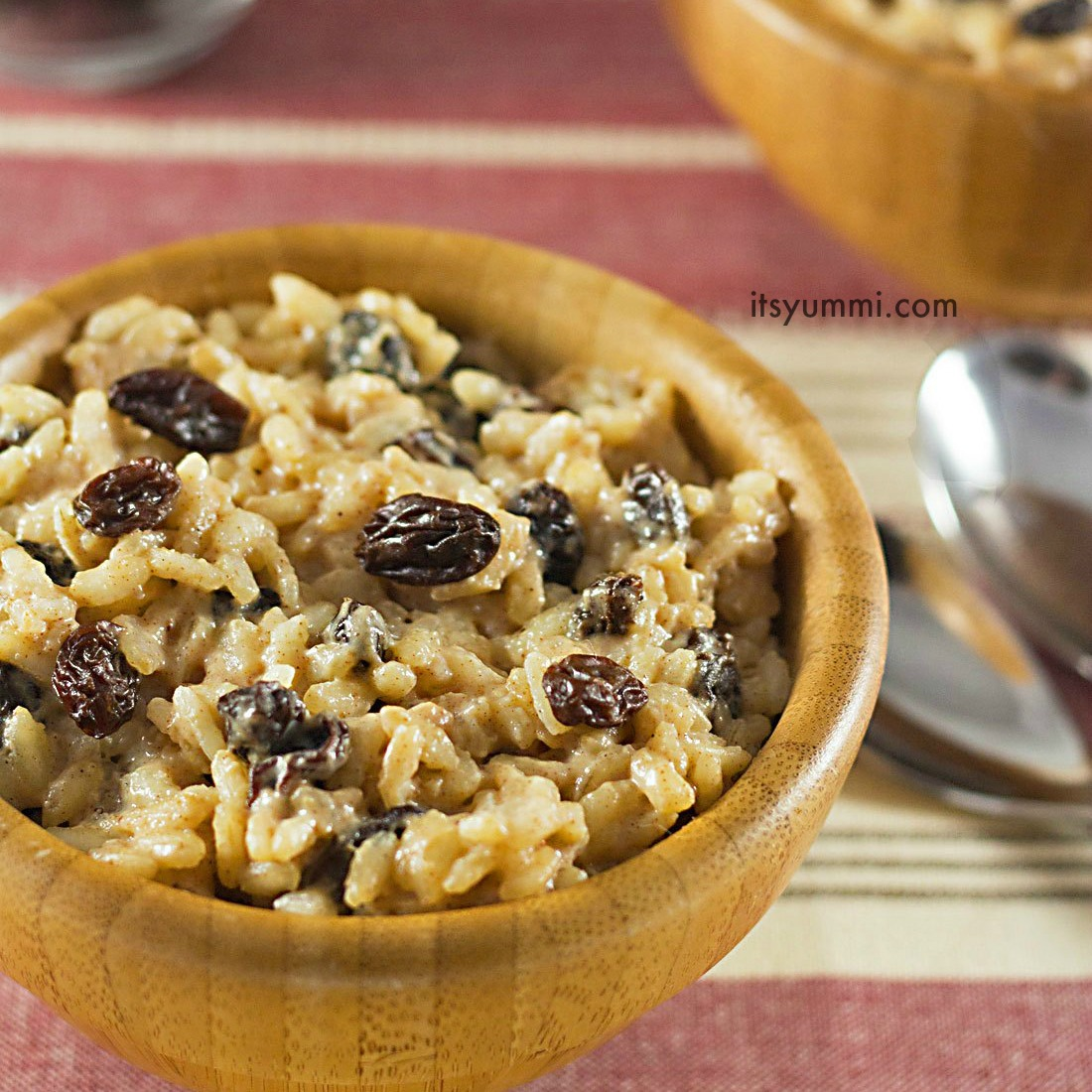 This easy eggnog-raisin rice pudding has NO added sugar! It's naturally sweet, making it a great holiday dessert. Recipe on ItsYummi.com