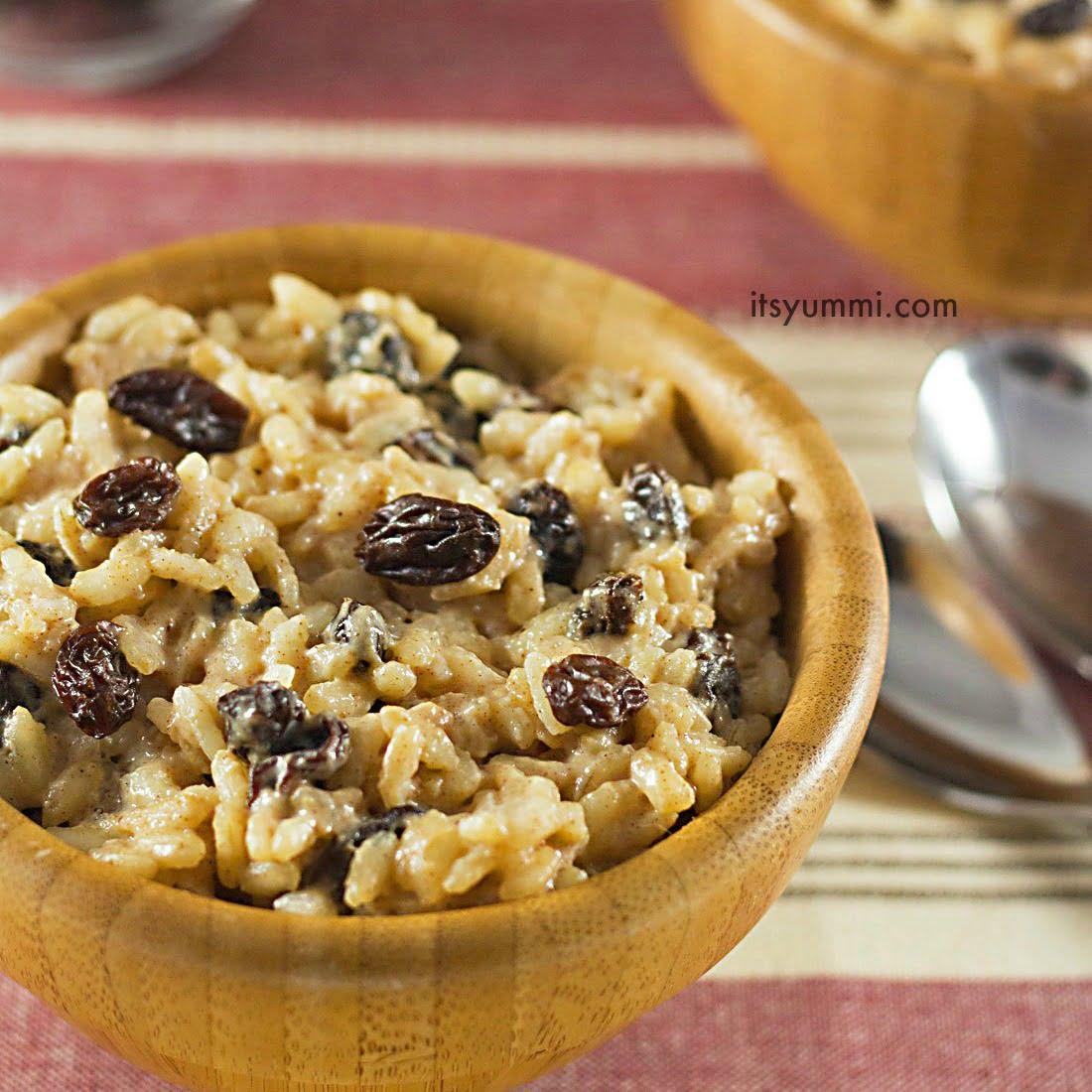 Easy Eggnog-Raisin Rice Pudding