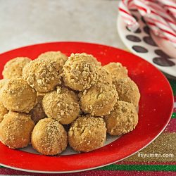Holiday Recipes: Nutty Graham Truffles and a holiday house made from graham crackers and peanut butter. See them on ItsYummi.com #PBandG #ad