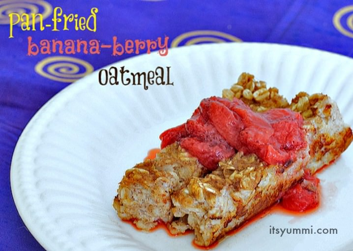 Easy, kid friendly, Pan Fried Banana Berry Oatmeal flips breakfast on its head! It's a favorite breakfast that comes together quickly.