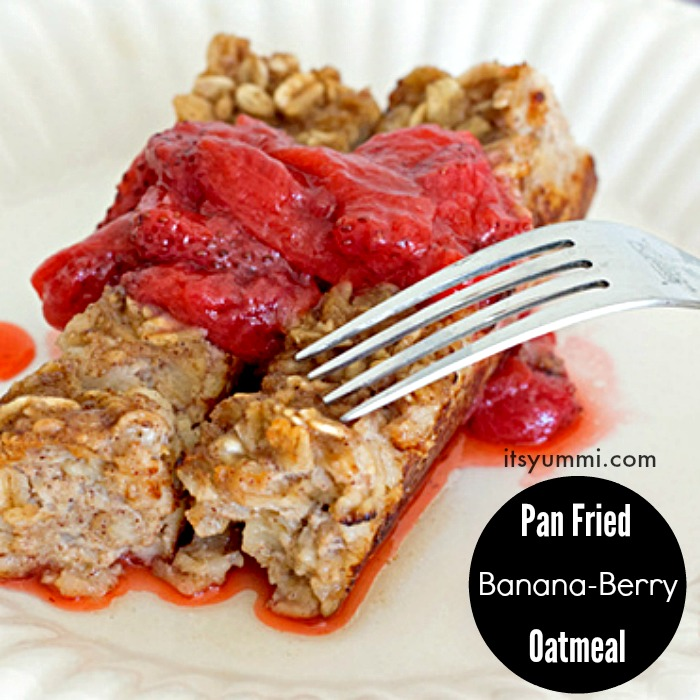 Easy, kid friendly, Pan Fried Banana Berry Oatmeal flips breakfast on its head! It's pan fried in butter and bananas and strawberries are added.