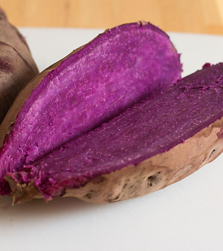 Stokes Purple® sweet potatoes from Frieda's Produce, as seen in a delicious recipe for Stokes sweet potato pie from ItsYummi.com