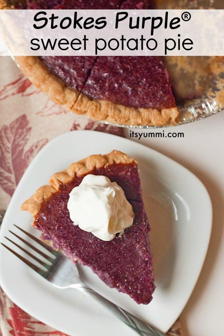 Stokes Purple® sweet potato pie recipe, using gorgeous purple sweet potatoes from Frieda's Produce. Get the recipe on ItsYummi.com