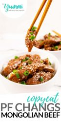 Pinterest Image with text '20 Minute PF Changs Mongolian Beef - Copycat recipe""