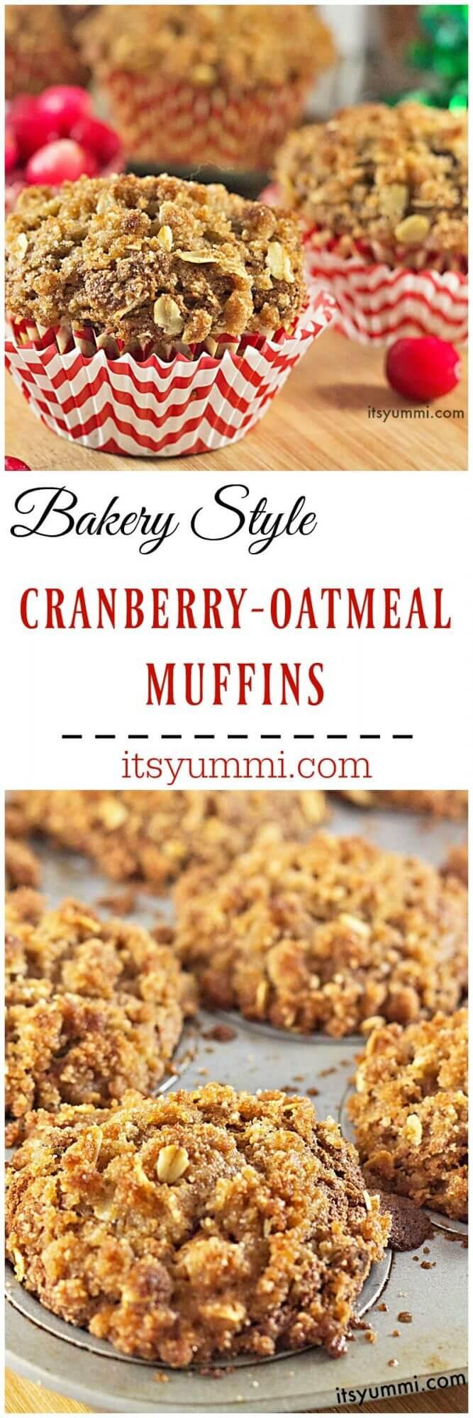 These bakery style cranberry streusel muffins are tender, moist cinnamon spiced muffins, stuffed with dried cranberries and topped with a sweet, crumbly streusel oats topping. Recipe from @itsyummi