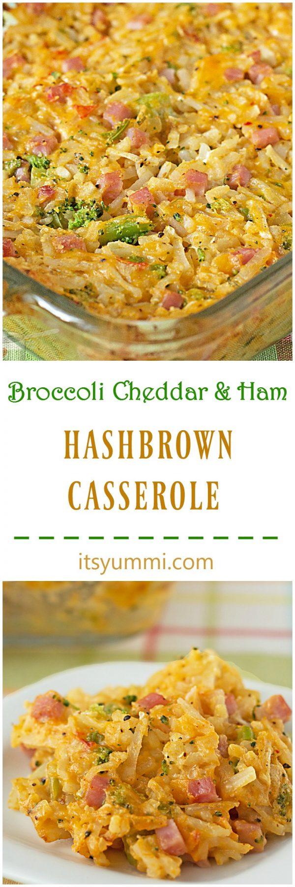 hashbrown casserole with ham, broccoli and cheddar cheese