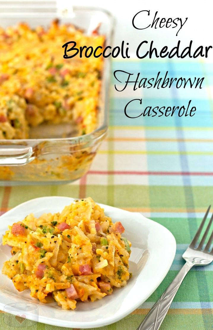 My favorite comfort food recipe! Broccoli Cheddar Hashbrown Casserole with Ham