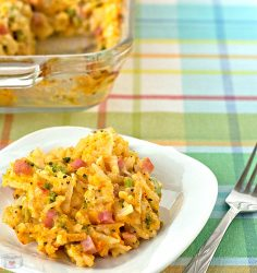 My favorite comfort food recipe! Broccoli Cheddar Hashbrown Casserole with Ham