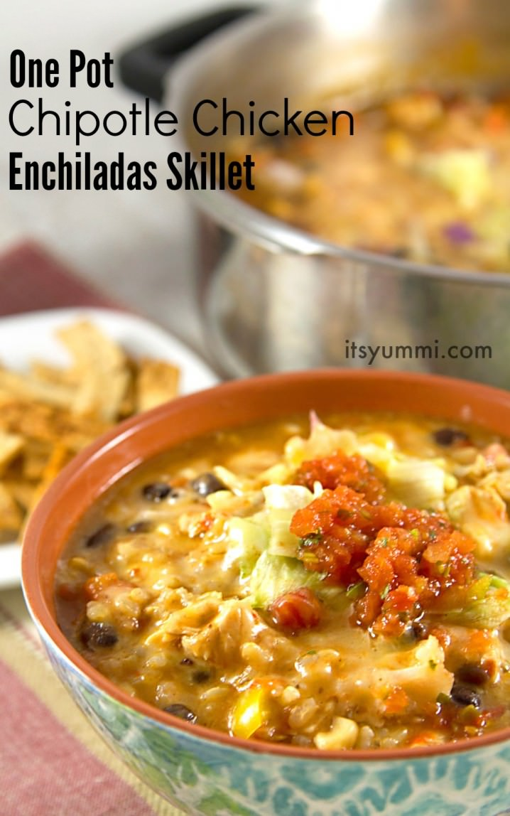 Chipotle chicken enchiladas soup - an easy weeknight dinner that freezes beautifully. Perfect for a potluck dinner!