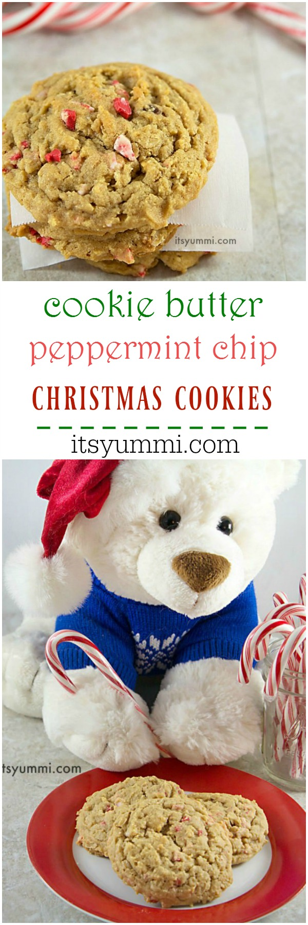 Cookie butter peppermint chip cookies! Sweet dreams are made of easy cookie recipes like this! This is a, soft, sweet holiday cookie.