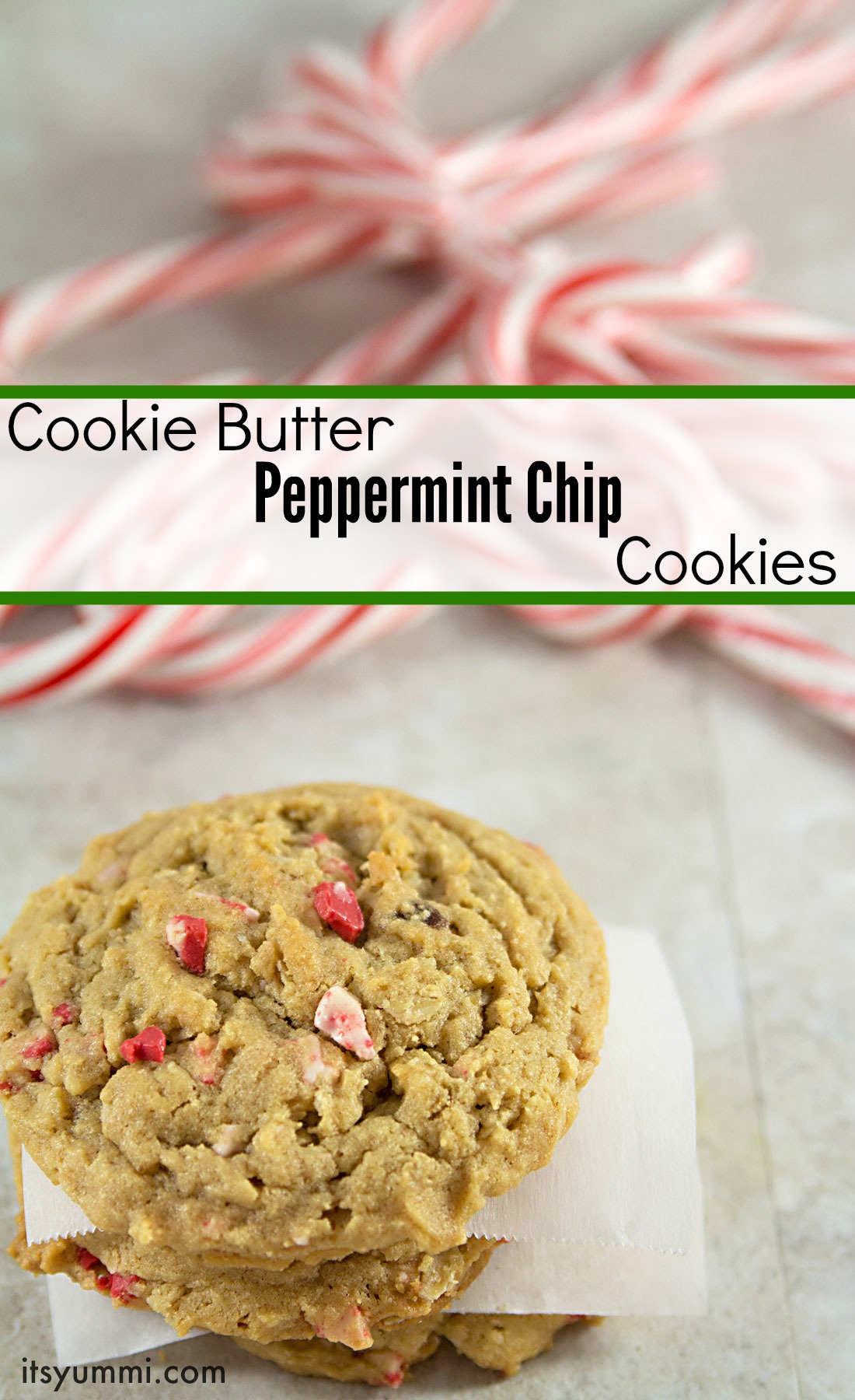 Cookie Butter Peppermint Chip Cookies from ItsYummi.com